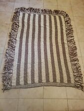 Handmade Crochet Afghan Throw Blanket  Ripple Pattern , White  60 w X 60 L
