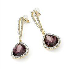 Purple & Diamante Drop Earrings