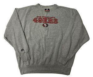 Vintage San Francisco 49ers Sweatshirt Mens XL Gray Sewn Spellout 90s Majestic
