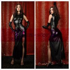 Sexy PVC Wet Look Black Faux Leather Gothic Fetish Lingerie Bondage Long Dress