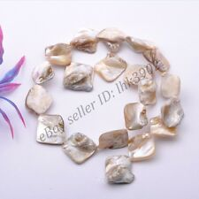 "1Strand White Shell MOP Freeform Shape Gemstone Charms Loose Beads 15"" 15-25MM"