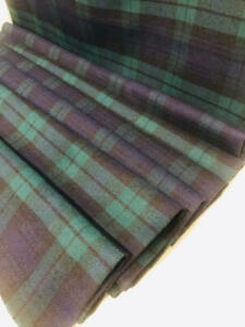 "Vtg WOOL Fabric Tartan Plaid Navy Green Blue Black NOT ITCHY Med Wght 46x2yd+19"""