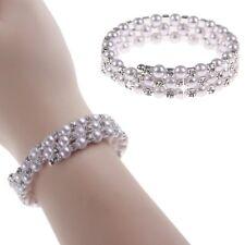 Fashion Women Pearl Crystal Cuff Bangle Wedding Bridal Wristband Bracelet 3 Rows