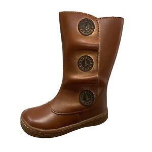 Livie & Luca Tiempo Toddler Boots Brown Leather Zip Knee High Girls Shoe Size 4C