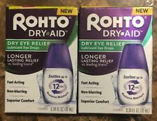 2x Rohto Dry Aid Dry Eye Relief Lubricant Eye Drops 0.34 oz each