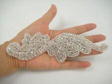 Stunning Wedding Applique Rhinestone Bridal Applique Diamante Trim Beaded Motif