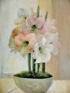 Bowl Pink White Hippeastrum or Amaryllis Flowers by Peter M Lowan Original Art