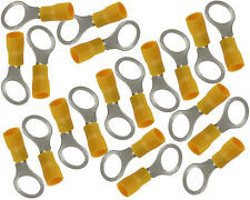 "300 pcs 12-10 GA YELLOW 3/8"" VINYL INSULATED CRIMP RING WIRE TERMINAL"
