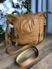 Vintage Fossil Tan Brown Leather Messenger Crossbody Shoulder Bag Key Charm