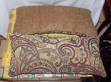 Pair of Burgundy Brown Flower Print Bolster / Lumbar Pillows  26  x 13