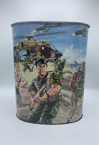 "RARE VINTAGE 1987 GI JOE ARAH SOLDIER TIN METAL TRASH CAN 13"" TALL !! COBRA"