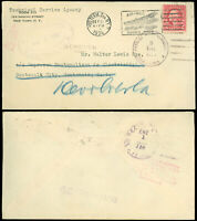 "1924 NY Cds, TREATY RATE to GUATEMALA, UNCLAIMED ""ABSENTE"" / RTS Hand Auxiliary!"