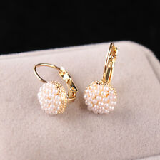 Womens Décor Gold Plated Pearl Cluster Hot Sale Cuff Stud Hoop Wedding Earrings
