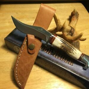 """Rough Rider Small Kukri Stag Bone 7 1/2"""" Knife with Leather Sheath RR1635"""