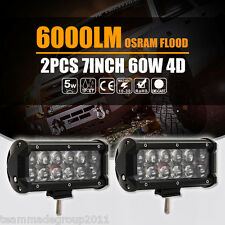 "4D+ 2x 7""inch 60W Osram LED Lights Bar Flood Beam Driving Lamps Tractor VS Cree"