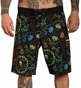 Sullen Wild Side Swim Palm Trees Tattoos Snakes Bathing Suit Boardshorts SCM3724