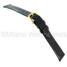 16mm Hadley Roma Genuine Teju Lizard Black Flat Unstitched Watch Band 969