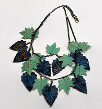 Green & Blue Metal Cascading Leaves Necklace