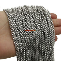 Wholesale Lots 3/5/10/20meters Stainless Steel Silver Bulk Factory Box Chain