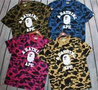 Men's Bape Monkey A Bathing Ape Head Cotton Camo Tee Short Sleeve  T-Shirt