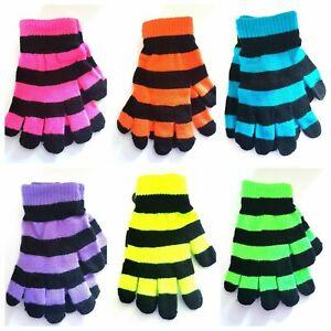 Kids Girls Boys Magic Stretchy Fit Gloves Bright Neon Stripy Halloween Childrens