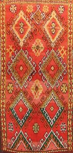Vintage Geometric Authentic Moroccan Vegetable Dye Area Rug Hand-knotted 6'x12'