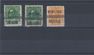 LOT of HAMILTON, 1-104, 1-104i, 1-105,  ADMIRALS   precancel Canada City Type