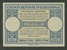 PANAMA REPLY PAID COUPON IRC 12c LONDON TYPE...UNISSUED MINT