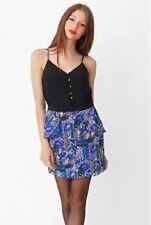 "NWOT YUMI KIM 100% Crepe de Chine Silk ""Freya"" Printed Mini Skirt~XS~Blue"