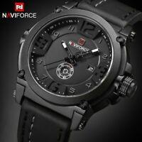 NAVIFORCE Men's Watches Analog Quartz Luxury Leather Strap Sport Wristwatch Date
