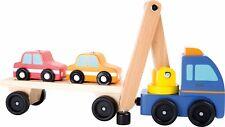 camión grúa transporte coche de madera