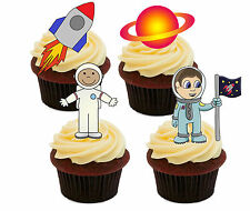 Space Rocket Edible Cupcake Toppers - Stand-up Cake Decorations Boy Birthday