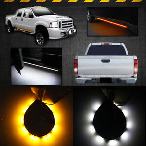 1x Amber White 48'' 120SMD LED Strip DRL Turn Signal Indicator Side Marker Light