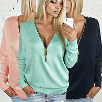 Womens Solid Long Sleeve Tops Hoodies Zip Pullover Casual Pullover Jumper Shirts