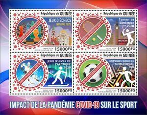 Guinea Medical Stamps 2021 MNH Corona Sports Impact Tennis Chess Football 4v M/S