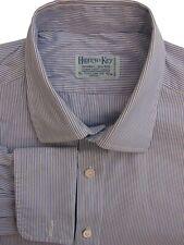 HILDITCH & KEY Shirt Mens 16.5 L Blue & White Stripes