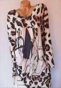 ITALY große Gr.48,50,52 Longshirt,Tunika,Shirt,Pulli,motiv Muster,Oversize Neu