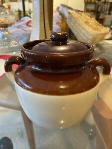 Vintage McCoy Brown and Tan 3 Quart Bean Pot 342 With Lid Made in USA ST