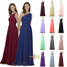 Chiffon One Shoulder Ruche Evening Formal Party Ball Gown Prom Bridesmaid Dress