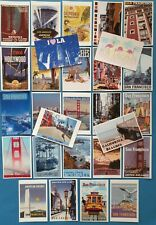 More details for set 28 new postcards, san francisco los angeles california, travel, posters 84l
