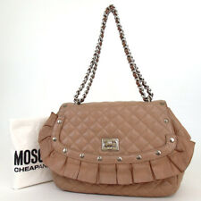 Authentic MOSCHINO Ruffle Double Chain Shoulder Bag leather[Used]