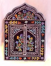 NUOVO commercio equo e solidale dipinti a mano SPECCHIO in LEGNO dal Marocco Berber Boho MORESCA