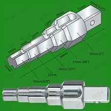 "Combi-Stepped Heating Radiator Valve Key, 5 steps 3/8""-1"", 1/2"" Drive, 10mm-22mm"