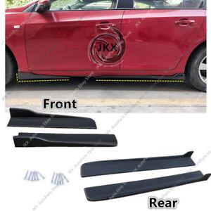 Black Universal Fit Car Side Skirt Extensions PP Bottom Line Valance Trim 4PCS