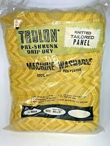 """Vintage Trulon Dacron Polyester Knitted Tailored Panel 60"""" x 81"""" Yellow New"""