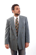 BURBERRY'S Made GERMANY CHECKED Green BLAZER JACKET Double Breasted UK 42 L GOOD