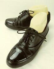 Fiftlop Wos Shoes Oxfords EU38 US7 Black Leather Lace Cap Toe Walking 1185