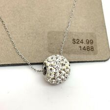Sterling Silver Rhinestone Crystal Ball Bead Pendant Necklace Women Jewelry NWT
