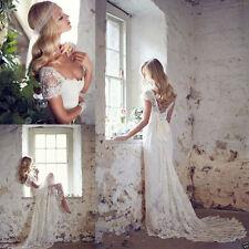 Custom New White Ivory Lace Cap Sleeve Long Wedding Dress Bridal Gown Size 8-22