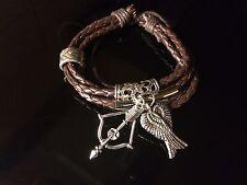 Walking Dead Daryl Dixon Norman Reedus Leather Bracelet Angel Wings Bow & Arrow
